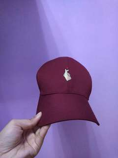 Maroon Cap with Finger Heart