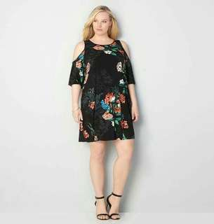 3D Floral Cold Shoulder Plus Size Dress