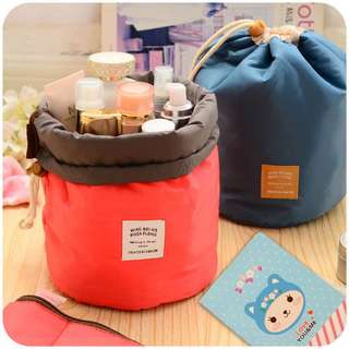 Portable Travel Makeup Cosmetic Bag Waterproof Toiletry Kit Pouch Bag Travel Drawstring Circular Bag Makeup Pouches