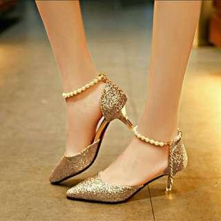 Gold Glitter Heels Wedding Shoes Bridemaids