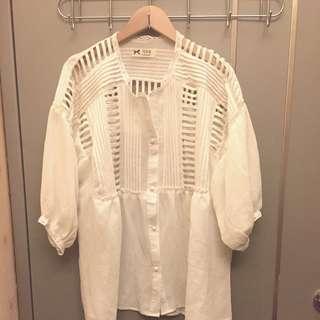 全新 韓 簡約白色上衣