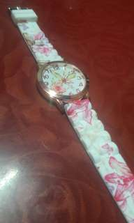 Pink / White Floral Rose Gold Women's Watch
