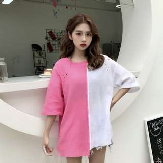 PO Ulzzang Duo Colour Ripped Holes Cut T-Shirt 3 Colours