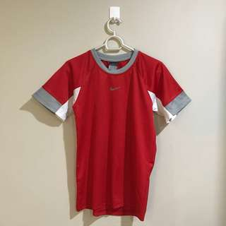 Nike Red, Grey, and White Jersey Sports Shirt