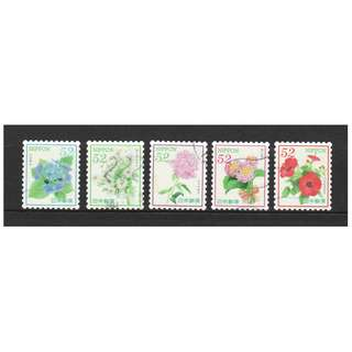 JAPAN 2017 'OMOTENASHI' (HOSPITALITY) FLOWERS SERIES 8 52 YEN COMP. SET OF 5 STAMPS IN FINE USED CONDITION