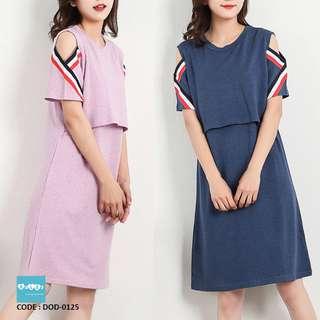 Maternity and Nursing Cold Shoulder Dress DOD-0125