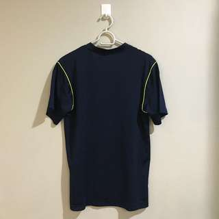 Adidas Dark Blue and Neon Green Jersey Sports Shirt