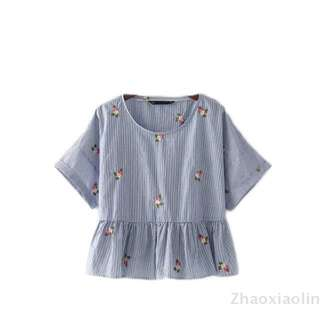 Embroidered flowers embroidered round neck short sleeve pullover shirt doll shirt blouse (Blue)