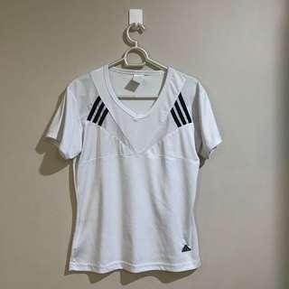 Adidas White and Black Jersey Sports Shirt