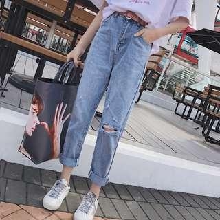 (S~5XL) Hole jeans female summer Korean high waist nine points feet harem pants