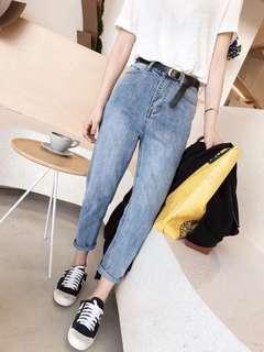 (S~5XL) Summer Korean high waist loose thin light jeans female nine feet feet harem pants tide