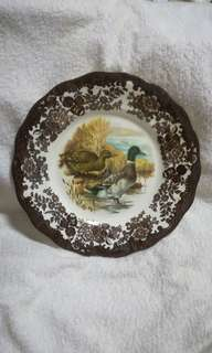 Vintage Royal Worcester Brown Transferware Plate - Game Bird Series of Mallard Duck by Palissy Pottery Staffordshire England