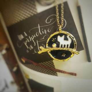 Cat and stars necklace