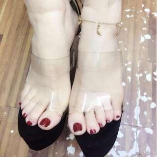 Korean transparent strap peep- closed toe