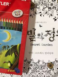 Secret garden colouring book with free Colour Pencils