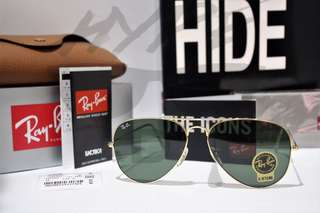 Authentic Ray Ban Aviator RB3025 L0205 Classic Gold.