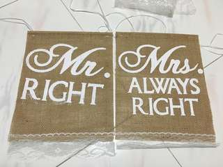 Mr Right and Mrs Always Right flag for chair