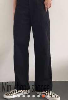 工裝直筒褲/寬鬆復古工作褲(黑)