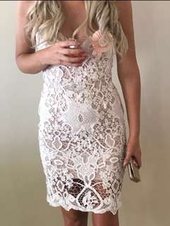 Showpo white lace midi dress