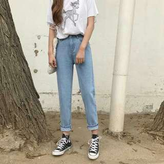 Summer New Fan Chic Slim Fit Slimming Effect Wild College Wind Waist Nine Poin Wa Light-Colored Jeans