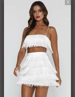 Meshki white fringe set. Skirt and top