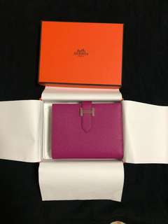 Hermes Bearn Compact Wallet L3 rose pourpre purple New 銀包 全新
