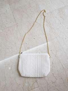 White crochet lace sling bag