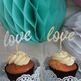 love cupcake topper wedding / engagement /proposal party