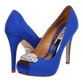 Blue Open Toe Heels