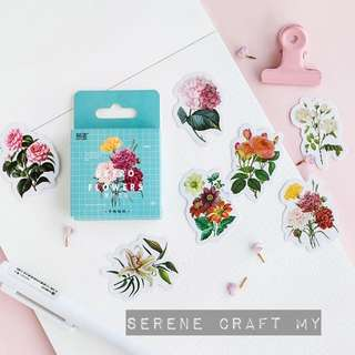 Box of 45pcs Retro Flower Sticker Pack