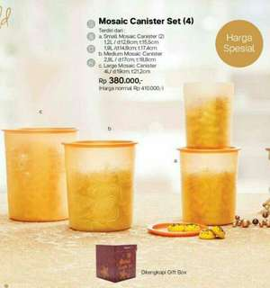 Tupperware mosaic Canister gold set with box