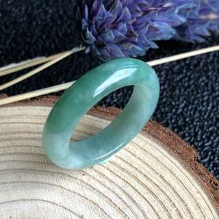 A-Grade Type A Natural Green Jadeite Jade Thin Abacus Ring Band No.161276
