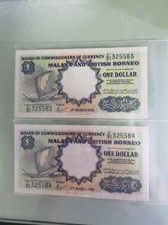 1959 $1 MaIaya & British Borneo 2pcs run OriginaI·
