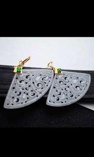 🍀18K Gold - Grade A 冰糯 White Ruyi Motifs  Jadeite Jade Fan Earrings🍍
