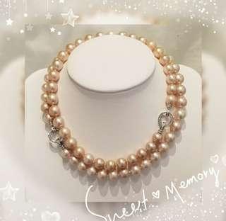 天然銀粉紅色 靚厚皮光淡水珍珠 12.2mm-13.5mm  配18k白鍍金梯方型水晶銀扣頸鍊 一套兩條 *三種配戴方法 (包郵) K-10