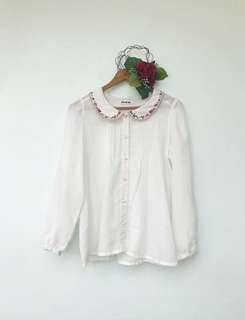 White Long Sleeves (peter pan collar)
