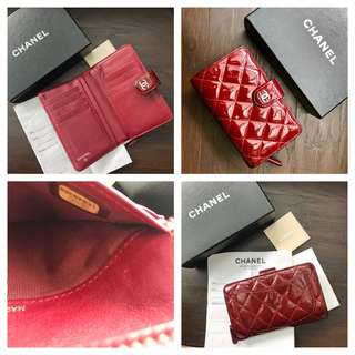 Authentic Chanel wallet patent red