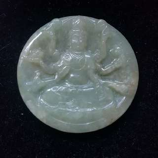 Guan Yin Thousand Hands Jadeite Grade A Pendant cheap sell $58