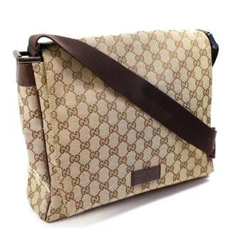 Gucci shoulder bag 146236 GUCCI khaki × brown GG canvas leather  (SHIP FROM JAPAN)