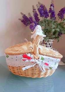 Vintage handmade red cherry basket