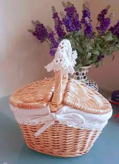 Vintage little flower handmade basket