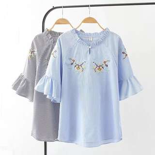 (XL~4XL) Women's summer new Korean version of the loose embroidery stripe lotus leaf sleeve T-shirt top