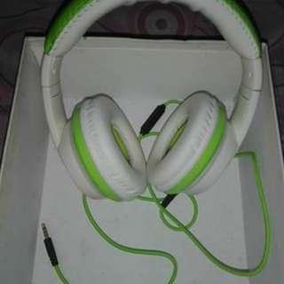 REPRICED!!! Ovleng VYKON MQ55 Stereo Over The Ear Headphone (White/Green)