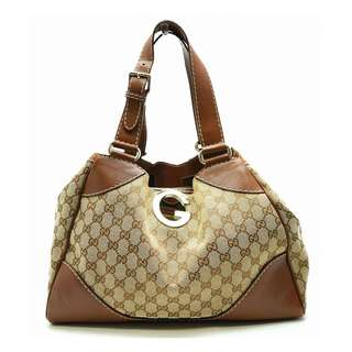 Gucci GG canvas tote bag shoulder bag canvas leather khaki beige brown 223972 1669 (SHIP FROM JAPAN)
