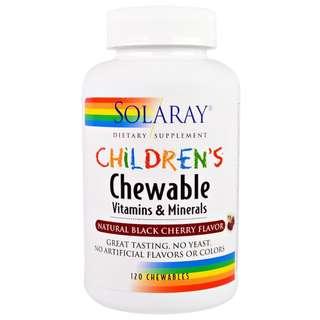 Solaray Children's Chewable Vitamins and Minerals, Natural Black Cherry Flavor, 120 Chewables