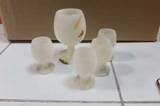 Vintage Marble glass set