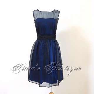 🚚 FRENCH CONNECTION 黑色透明網紗 性感 深藍 小禮服 洋裝 (155)