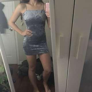 Blue/grey velvet dress