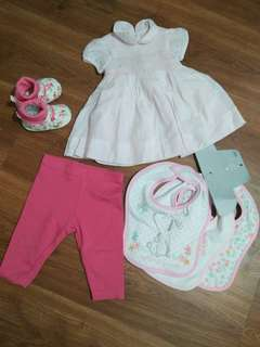 Take all for baby 0-3mos. Shoes dress bibs leggings