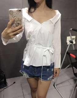 全新 Zara 露肩白色襯衫 綁帶